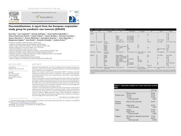 Pancreatoblastoma: A report from the European cooperative study group for paediatric rare tumours (EXPeRT)